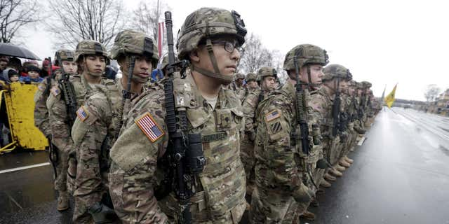 Nov. 18, 2015: U.S. troops participate in Latvia's Independence Day military parade in Riga.