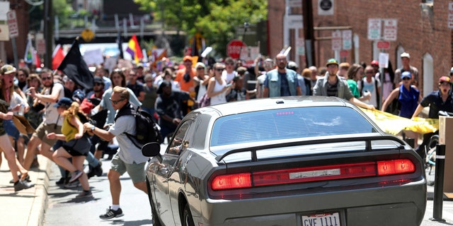 The car ramming into the crowd in Charlottesville on Saturday.