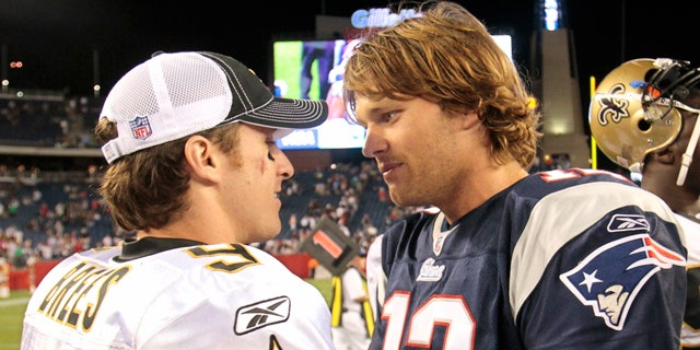 Aug. 12, 2010: New Orleans Saints quarterback Drew Brees, left, talks with New England Patriots quarterback Tom Brady after New England's 27-24 win in an NFL preseason football game in Foxborough, Mass.