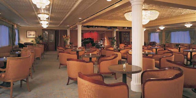 The lavish Harbor Lights Lounge aboard the Sea Voyager, a cruise ship chartered by the U.N.'s World Food Program to house some of its relief workers in Haiti.