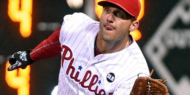 Apr 8, 2015; Philadelphia, PA, USA; Philadelphia Phillies right fielder Jeff Francoeur (3) makes a catch in the eighth inning against the Boston Red Sox at Citizens Bank Park. The Phillies defeated the Red Sox, 4-2. Mandatory Credit: Eric Hartline-USA TODAY Sports