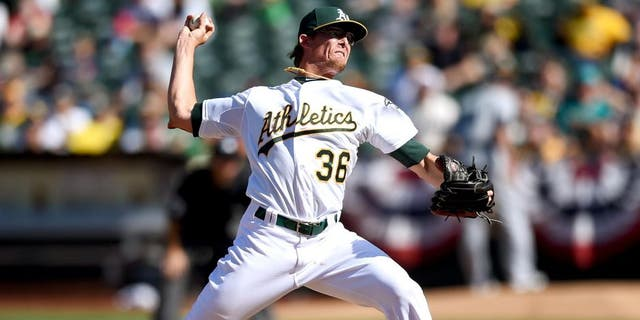 OAKLAND, CA - APRIL 12: Tyler Clippard #36 of the Oakland Athletics pitches against the Seattle Mariners in the top of the tenth inning at O.co Coliseum on April 12, 2015 in Oakland, California. (Photo by Thearon W. Henderson/Getty Images)