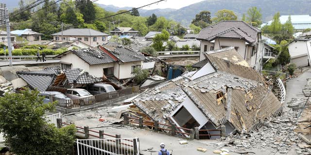Resident houses are seen destroyed after an earthquake in Mashiki, Kumamoto prefecture, southern Japan.