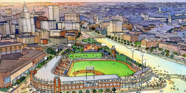 April 15, 2015: This architectural rendering released by the Pawtucket Red Sox shows the team's proposed new multi-use ballpark on former highway land now owned by the state and Brown University in Providence, R.I.