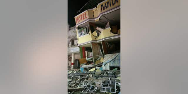 April 16, 2016: An hotel barely stands after an earthquake in the town of Manta, Ecuador.