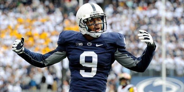 Nov 1, 2014; University Park, PA, USA; Penn State Nittany Lions cornerback Jordan Lucas (9) gestures to the crowd against the Maryland Terrapins during the fourth quarter at Beaver Stadium. Maryland defeated Penn State 20-19. Mandatory Credit: Rich Barnes-USA TODAY Sports