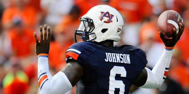 Aug 30, 2014; Auburn, AL, USA; Auburn Tigers quarterback Jeremy Johnson (6) passes the ball during the first half against the Arkansas Razorbacks at Jordan Hare Stadium. Mandatory Credit: Shanna Lockwood-USA TODAY Sports