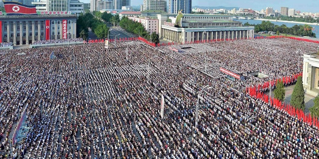 A general view shows a Pyongyang city mass rally held at Kim Il Sung Square on August 9, 2017, to fully support the statement of the Democratic People's Republic of Korea (DPRK) government in this photo released on August 10, 2017 by North Korea's Korean Central News Agency (KCNA) in Pyongyang.