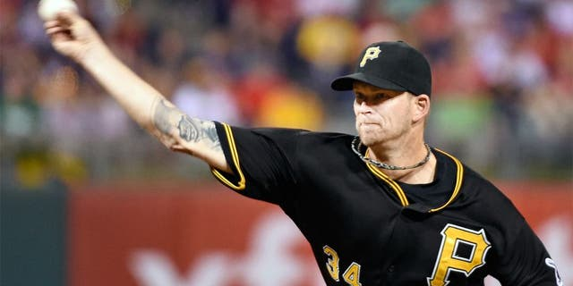 May 12, 2015; Philadelphia, PA, USA; Pittsburgh Pirates starting pitcher A.J. Burnett (34) throws a pitch during sixth inning against the Philadelphia Phillies at Citizens Bank Park. The Pirates defeated the Phillies, 7-2. Mandatory Credit: Eric Hartline-USA TODAY Sports