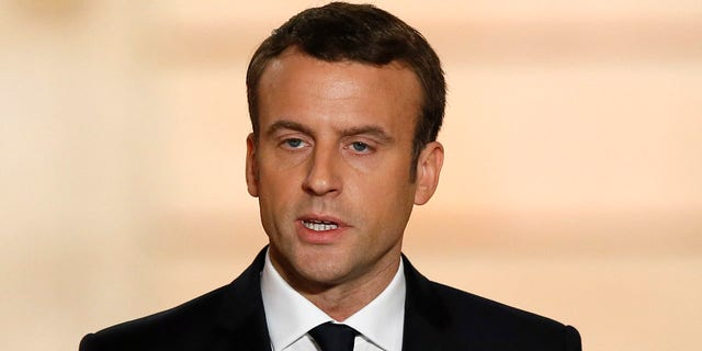 New French President Emmanuel Macron delivers a speech during his inauguration at the Elysee Palace in Paris, Sunday, May 14, 2017.