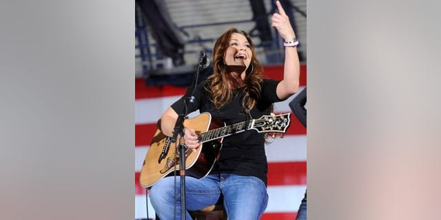 "Nov. 2, 2008: Gretchen Wilson plays her hit ""Redneck Woman"" at a rally for Republican vice presidential candidate, Alaska Gov. Sarah Palin at Marietta Collage in Marietta, Ohio."