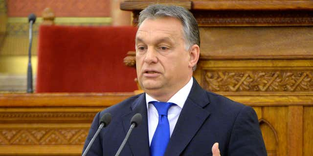 April 25, 2016: Hungarian Prime Minister Viktor Orban addresses a ceremony held to mark the 5th anniversary of the proclamation of the new constitution in the Parliament building in Budapest, Hungary.