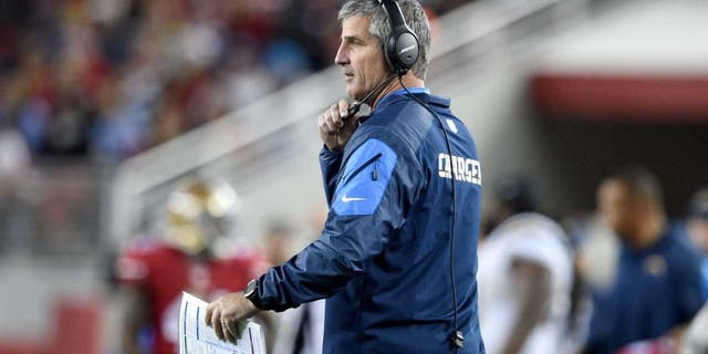 December 20, 2014; Santa Clara, CA, USA; San Diego Chargers offensive coordinator Frank Reich during the fourth quarter against the San Francisco 49ers at Levi's Stadium. The Chargers defeated the 49ers 38-35. Mandatory Credit: Kyle Terada-USA TODAY Sports