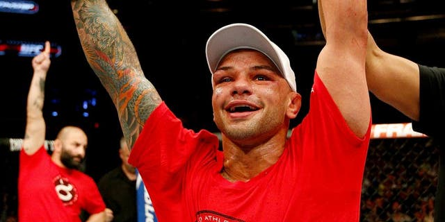 ORLANDO, FL - APRIL 19: Thiago Alves reacts after his decision victory over Seth Baczynski in their welterweight bout during the FOX UFC Saturday event at the Amway Center on April 19, 2014 in Orlando, Florida. (Photo by Josh Hedges/Zuffa LLC/Zuffa LLC via Getty Images)