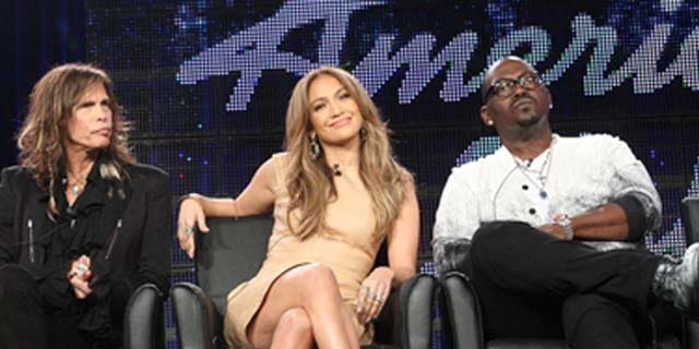 PASADENA, CA - JANUARY 11: (L-R) Musicians Steven Tyler, Jennifer Lopez and producer Randy Jackson speak onstage during the 'American Idol' panel at the FOX Broadcasting Company portion of the 2011 Winter TCA press tour held at the Langham Hotel on January 11, 2011 in Pasadena, California.