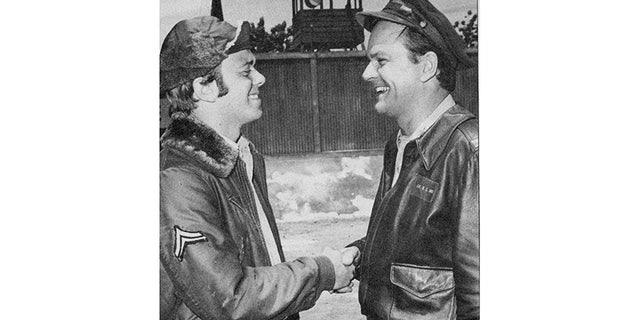 "Robert and Bob Crane on the set of ""Hogan's Heroes."""
