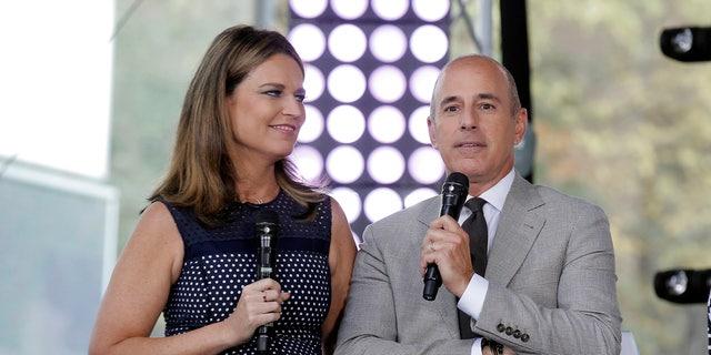 "Hosts Savannah Guthrie (L) and Matt Lauer appear during NBC's ""Today"" show Summer Concert Series in New York City, U.S., August 26, 2016. REUTERS/Brendan McDermid - S1BETXRJLEAB"