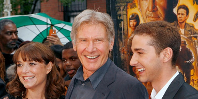 """Karen Allen, Harrison Ford, and Shia LaBeouf arrive for a screening of the film """"Indiana Jones and the Kingdom of the Crystal Skull"""" by U.S. director Steven Spielberg in New York in 2008."""