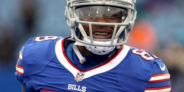 Dec 22, 2013; Orchard Park, NY, USA; Buffalo Bills wide receiver Marquise Goodwin (88) before a game against the Miami Dolphins at Ralph Wilson Stadium. Mandatory Credit: Timothy T. Ludwig-USA TODAY Sports