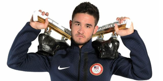 WEST HOLLYWOOD, CA - APRIL 23: Speed skater Eddy Alvarez poses for a portrait during the USOC Portrait Shoot on April 23, 2013 in West Hollywood, California. (Photo by Harry How/Getty Images)