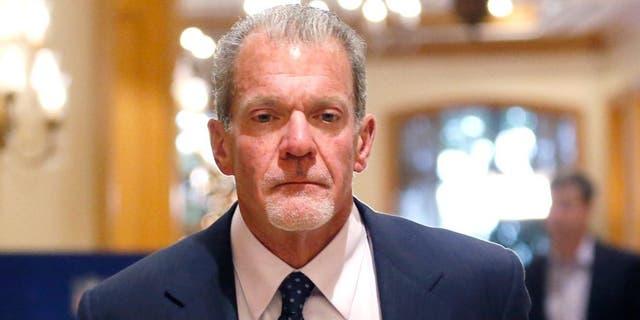 Dec 10, 2014; Irving, TX, USA; Indianapolis Colts owner Jim Irsay at the NFL meetings at Las Colinas Four Seasons Hotel. Mandatory Credit: Tim Heitman-USA TODAY Sports