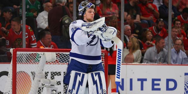 Jun 10, 2015; Chicago, IL, USA; Tampa Bay Lightning goalie Andrei Vasilevskiy (88) during a break in the second period in game four of the 2015 Stanley Cup Final against the Chicago Blackhawks at United Center. Mandatory Credit: Dennis Wierzbicki-USA TODAY Sports