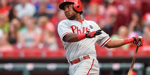 CINCINNATI, OH - JUNE 9: Maikel Franco #7 of the Philadelphia Phillies bats against the Cincinnati Reds at Great American Ball Park on June 9, 2015 in Cincinnati, Ohio. (Photo by Jamie Sabau/Getty Images)