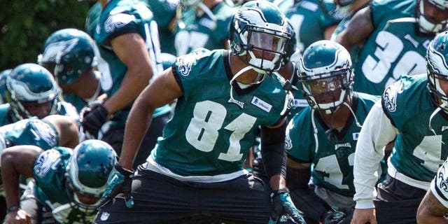 Jun 17, 2015; Philadelphia, PA, USA; Philadelphia Eagles wide receiver Jordan Matthews (81) stretches with the team during minicamp at The NovaCare Complex. Mandatory Credit: Bill Streicher-USA TODAY Sports