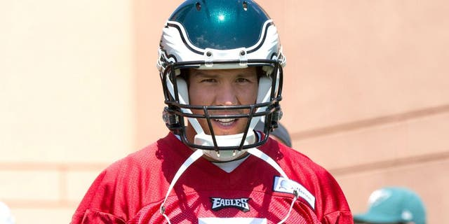 Jun 17, 2015; Philadelphia, PA, USA; Philadelphia Eagles quarterback Sam Bradford (7) walks onto the field during minicamp at The NovaCare Complex.