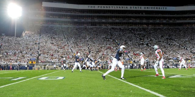 Oct 25, 2014; University Park, PA, USA; A general view of the stadium during the first quarter of the game between the Ohio State Buckeyes and the Penn State Nittany Lions at Beaver Stadium. Mandatory Credit: Evan Habeeb-USA TODAY Sports