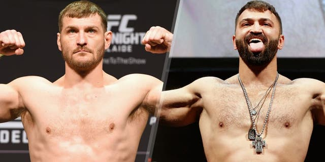 ADELAIDE, AUSTRALIA - MAY 09: Stipe Miocic of the United States weighs in during the UFC weigh-in event at the Adelaide Entertainment Centre on May 9, 2015 in Adelaide, Australia. (Photo by Josh Hedges/Zuffa LLC/Zuffa LLC via Getty Images) BRASILIA, BRAZIL - SEPTEMBER 12: Andrei Arlovski of Belarus poses on the scale after weighing in during the UFC Fight Night weigh-in at the Nilson Nelson Gymnasium on September 12, 2014 in Brasilia, Brazil. (Photo by Josh Hedges/Zuffa LLC/Zuffa LLC via Getty Images)