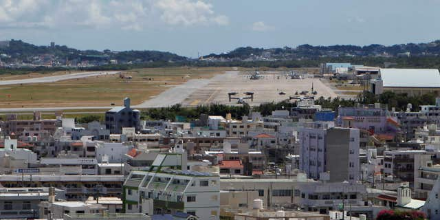 June 17, 2016: Osprey military aircraft are seen at the U.S. Futenma airbase in Ginowan.