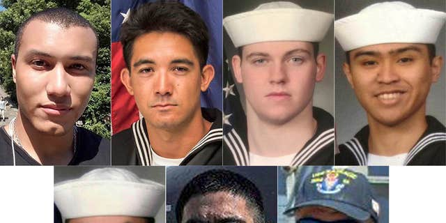 From top left to right, Personnel Specialist 1st Class Xavier Alec Martin, 24, from Halethorpe, Maryland, Yeoman 3rd Class Shingo Alexander Douglass, 25, from San Diego, California, Gunner's Mate Seaman Dakota Kyle Rigsby, 19, from Palmyra, Virginia, and Fire Controlman 2nd Class Carlos Victor Ganzon Sibayan, 23, from Chula Vista, California. From bottom left to right, Sonar Technician 3rd Class Ngoc T Truong Huynh, 25, from Oakville, Connecticut, Gunner's Mate 2nd Class Noe Hernandez, 26, from Weslaco, Texas, and Fire Controlman 1st Class Gary Leo Rehm Jr., 37, from Elyria, Ohio.