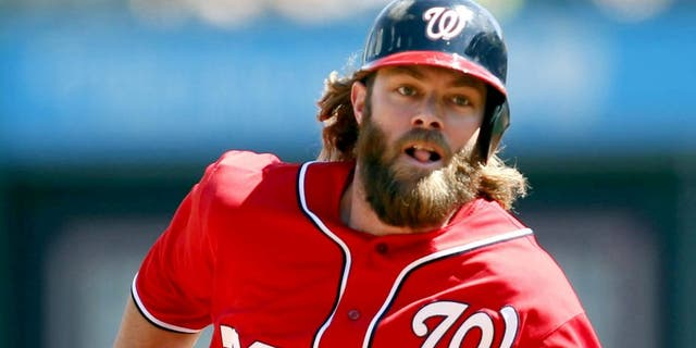 May 25, 2014; Pittsburgh, PA, USA; Washington Nationals right fielder Jayson Werth (28) runs from first to third base against the Pittsburgh Pirates during the seventh inning at PNC Park. The Nationals won 5-2. Mandatory Credit: Charles LeClaire-USA TODAY Sports