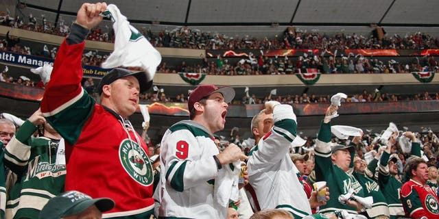 ST. PAUL, MN - APRIL 28: Minnesota Wild fans cheer on their team against the Colorado Avalanche during Game Six of the First Round of the 2014 Stanley Cup Playoffs on April 28, 2014 at the Xcel Energy Center in St. Paul, Minnesota. (Photo by Bruce Kluckhohn/NHLI via Getty Images)