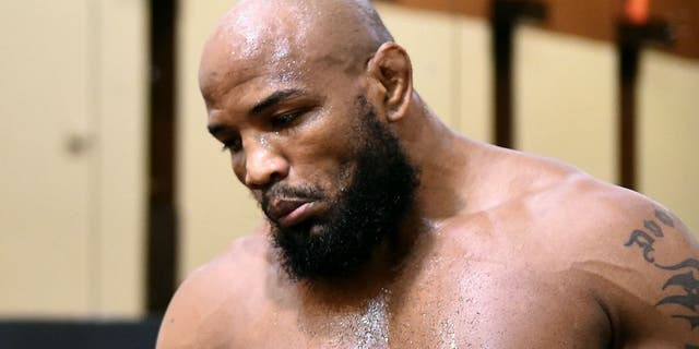 HOLLYWOOD, FL - JUNE 27: Yoel Romero of Cuba warms up backstage during the UFC Fight Night event at the Hard Rock Live on June 27, 2015 in Hollywood, Florida. (Photo by Mike Roach/Zuffa LLC/Zuffa LLC via Getty Images)