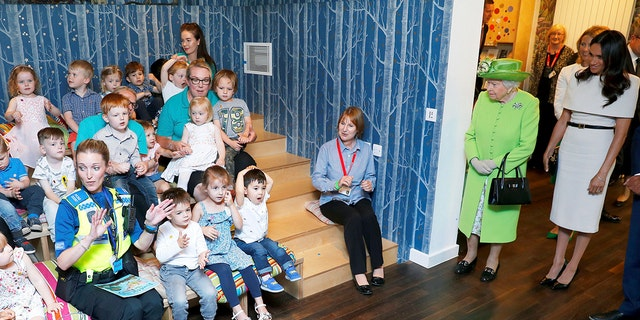 Britain's Queen Elizabeth II and Meghan, Duchess of Sussex, visit Storyhouse Chester, where they took a tour of the building before unveiling a plaque to mark the official opening.