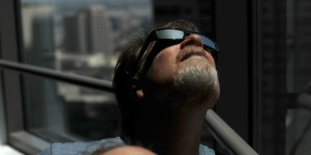 Solar eclipse sunglasses are pictured in Los Angeles, California, U.S., August 8, 2017. REUTERS/Mario Anzuoni - RTS1B67Y