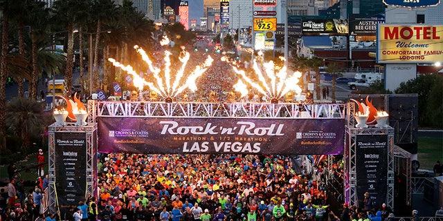 In this Nov. 16, 2014, file photo, runners begin the Rock 'n' Roll Las Vegas Marathon along the Las Vegas Strip in Las Vegas.