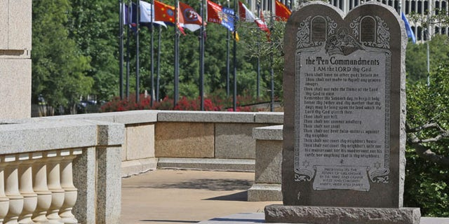 June 30, 2015: The Ten Commandments monument is pictured at the state Capitol in Oklahoma City.