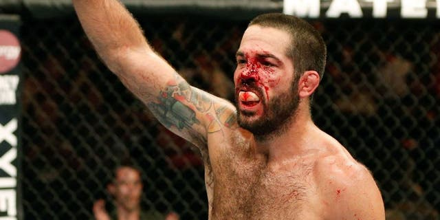SAN JOSE, CA - JULY 26: Matt Brown reacts after the conclusion of his welterweight bout against Robbie Lawler during the UFC Fight Night event at SAP Center on July 26, 2014 in San Jose, California. (Photo by Josh Hedges/Zuffa LLC/Zuffa LLC via Getty Images)