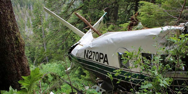 June 28, 2015: Picture shows the wreckage of a sightseeing plane that crashed in remote, mountainous terrain about 25 miles from Ketchikan.