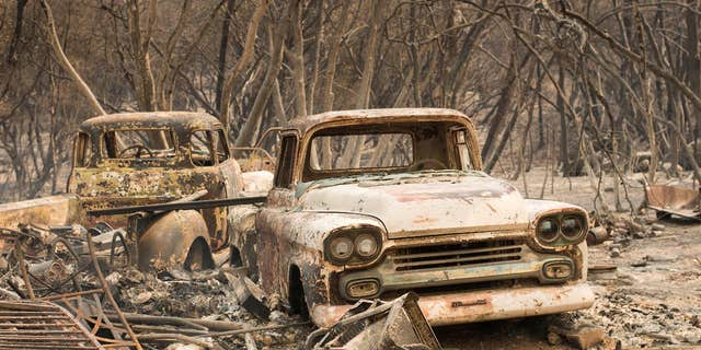 Trucks burned by a wildfire rest in a grove near Oroville, Calif., on Saturday, July 8, 2017.