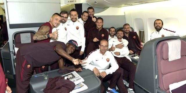 JAKARTA, INDONESIA - JULY 24: AS Roma player players and staff during the AS Roma travel to Indonesia on July 24, 2015 in Jakarta, Indonesia. (Photo by Luciano Rossi/AS Roma via Getty Images)