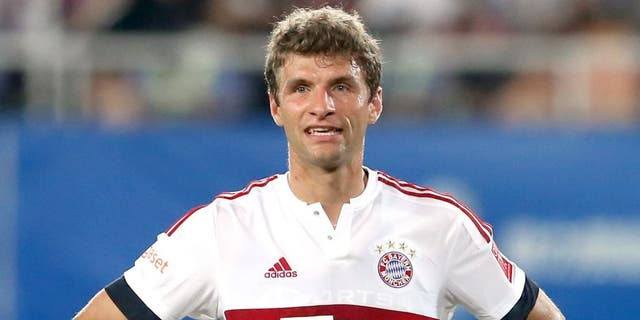 GUANGZHOU, CHINA - JULY 23: Thomas Mueller of Muenchen reacts during the international friendly match between FC Guangzhou Evergrande Taobao FC and FC Bayern Muenchen of the Volkswagen Cup Guangzhou at Tianhe Stadium on July 23, 2015 in Guangzhou, China. (Photo by Alexander Hassenstein/Bongarts/Getty Images)