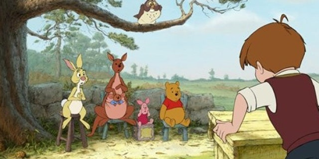 "In this publicity image released by Disney, characters from left,  Rabbit, Kanga, Roo, Piglet, Owl, Winnie the Pooh, and Christopher Robin are shown in a scene from ""Winnie the Pooh."""