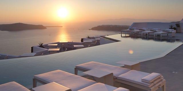 An exotic pool in Santorini, Greece.