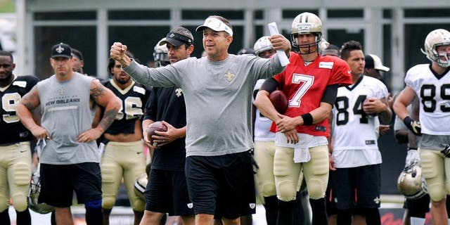 Jul 28, 2014; White Sulpher Springs, WV, USA; New Orleans Saints head coach Sean Payton instructs the team during training camp at The Greenbrier. Mandatory Credit: Michael Shroyer-USA TODAY Sports