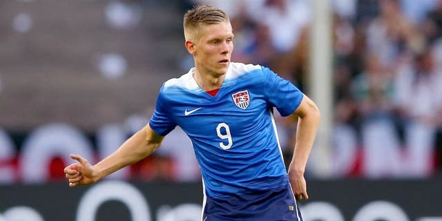 COLOGNE, GERMANY - JUNE 10: Aron Johannsson of USA runs with the ball during the International Friendly match between Germany and USA at RheinEnergieStadion on June 10, 2015 in Cologne, Germany. (Photo by Martin Rose/Bongarts/Getty Images)