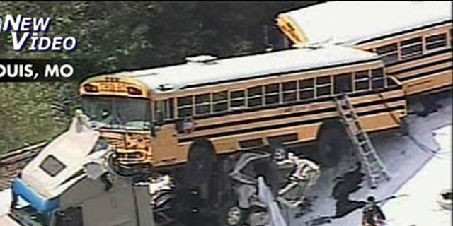 Aug. 5: Two people are dead and dozens injured after two school buses carrying about 100 students crashed into a tractor trailer on a highway near St. Louis, Mo.
